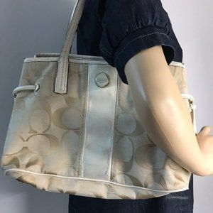 Coach Bags - Coach Tan Cream Medium Fabric Shoppers Tote Bag